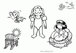 ציור לצביעה עם ילדים בחוף הים